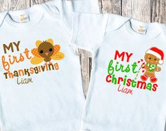 My First Halloween SET My First Christmas Shirts bodysuit SET Baby Boy Girl Set of 2 Turkey Thanksgiving