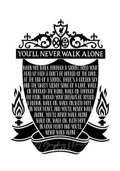 Silhouette Art Print Liverpool FC - You'll Never Walk Alone Lyrics never walk alone liverpool Silhouette Art Print Liverpool FC - You'll Never Walk Alone Lyrics Liverpool Fc Badge, Liverpool Fc Champions League, Liverpool Memes, Liverpool Poster, Liverpool Tattoo, Anfield Liverpool, Liverpool Fc Wallpaper, Liverpool Wallpapers, Champs
