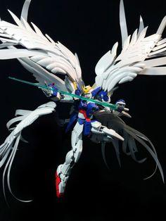 POINTNET.COM.HK - 擺POSE 的重要!!!素組 RG 1/144 Wing Zero Custom EW + Custom Feather Effects