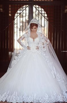 $249-Long Sleeves Lace Ball Gown Wedding Dresses Chapel Train Amazing New Bridal Gowns