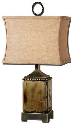 Porano 24 Porcelain Accent Lamp Western Lamps - Distressed porcelain finished in a mossy green glaze with rust undertones and dark bronze metal details. The rectangle modified box shade is a rusty beige linen fabric.