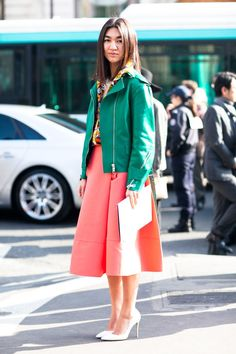 Brilliant color gave this ladylike look modern appeal, as did a   Très Chic! The Best Street Style at Paris Fashion Week   POPSUGAR Fashion Photo 33
