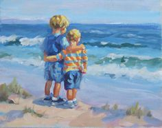 acrylic painting 8 x 10 two boys on a beach sibling by LucelleRaad