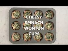 Cheesy Spinach Dip Wonton Cups - Fresh Fit Kitchen