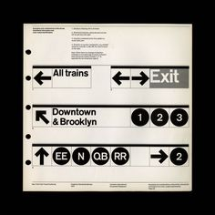 Page 59 of the NYC Transit Authority Manual (Pentagram, 1970). Different sign combinations were detailed to show how a strictly minimal system could adapt to the complex labyrinth that is the New York City subway. Courtesy of Jesse Reed and Hamish Smyth.