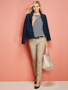 Boat-Stripes Button-Shoulder Tee - Talbots                                                                                                                                                                                 More
