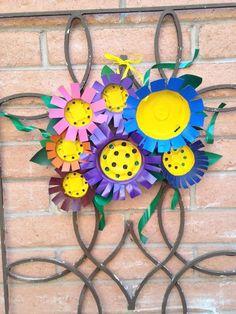 flowery front door decor using plastic pots, doors, gardening, home decor