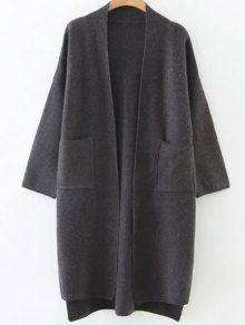 Collarless High Low Pockets Cardigan