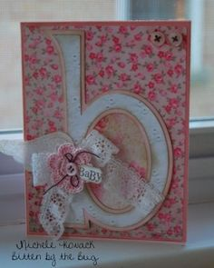 New born baby card. Using any letter can be namesake birthday card Baby Girl Cards, New Baby Cards, New Born Baby Card, Scrapbook Cards, Baby Scrapbook, Cricut Cards, Card Tags, Cool Cards, Creative Cards