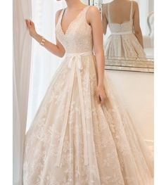 2014 New Spaghetti straps A-line bridal wedding dress V-neck lace applique party dress formal evening dress Cathedral from JUMX on Etsy