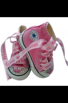 custom pink converse all star (ribbons and rhinestones)-too cute