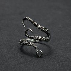 Titanium Steel Gothic Octopus Ring
