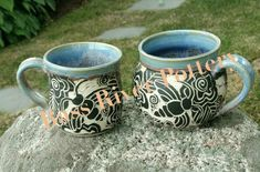 Sgraffito pottery, bumble bees. Large mugs. Bumble Bees, Sgraffito, Cape Cod, Bass, Pottery, River, Tableware, Cod, Ceramica