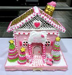 pink Christmas gingerbread house