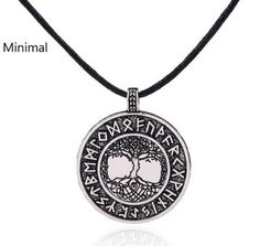 Minimal Vikings Runes Amulet Pendant Necklace Tree of Life Yggdrasil necklace Nordic Talisman wicca jewelry for man