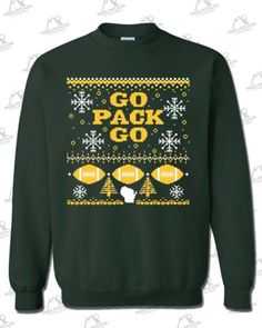 """Green Bay Packers Fans """"Ugly Sweater"""" Crewneck Sweatshirt Forest Green Go Pack 