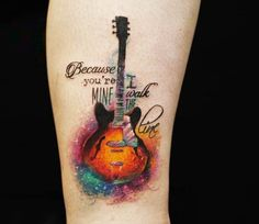 Wonderful 3 colors watercolor tattoo style of Guitar motive done by artist Versus Ink Guitar Tattoo Design, Music Tattoo Designs, Design Tattoo, Music Tattoos, Line Tattoos, Trendy Tattoos, Body Art Tattoos, Tattoos For Guys, Cool Tattoos