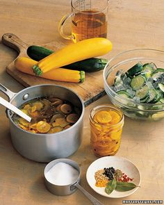 Sweet-and-Spicy Bread-and-Butter Pickles - Put that bumper crop of zucchini or other summer squash to good use by swapping them for the cucumbers in this spicy, tangy pickle recipe. Can the pickles in pint jars and store them for up to one year. Summer Squash And Zucchini Recipe, Summer Squash Recipes, Zucchini Squash, Spicy Pickles, Pickles Recipe, Canning Pickles, Homemade Pickles, Zucchini Pickles, Pickled Zucchini