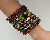 African Fabric Wrapped Bangle Bracelets