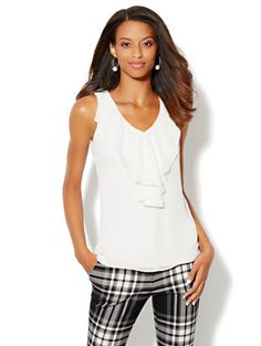 Shop Ruffle-Front Shell. Find your perfect size online at the best price at New York & Company.