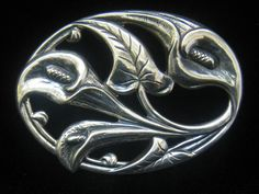 Vtg Danecraft Sterling Ropousse Brooch with Art by JewelryCapers, $50.00