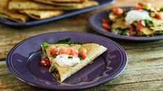 Smoky Bacon, Black Beans and Greens Quesadillas with Pico de Gallo - Rachael Ray Spanish Dishes, Mexican Dishes, Mexican Food Recipes, Rachel Ray Recipes, Football Food, Game Day Food, Quesadillas, Food To Make, Pico De Gallo