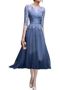 Victory Bridal Hochwertig Rosa Spitze Langarm Abendkleider Ballkleider Partykleider Festlichkleider Lang-38 Dunkel Rosa