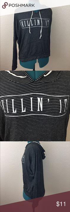 Killing it hipster lightweight striped hoodie feel confident in this comfy hooded sweater with dolman like sleeves. Walk to get some coffee knowing you killed it today. Hollah! french Pastry Sweaters