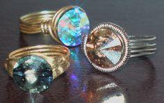 Swarovski crystal Rings ΧΕΙΡΟΠΟΙΗΤΑ ΔΑΧΤΥΛΙΔΙΑ ΑΠΟ ΟΡΕΙΧΑΛΚΟ ΚΑΙ ΑΛΠΑΚΑ ΜΕ ΠΕΤΡΑ SWAROVSKI ANELLI IN OTTONE E ALPACCA CON PIETRA SWAROVSKI