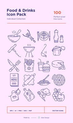Series of 100 pixel-perfect icons, created by influence of the restaurant, cafe & bar business. Menu Design, Food Design, App Design, Design Layouts, Mobile Design, Website Layout, Web Layout, Flat Icons, Flat Ui