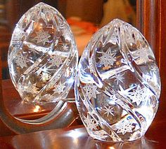 Crystal Egg with etched decor and stars