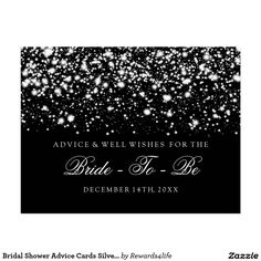 bridal shower advice cards silver midnight glam silver midnight glam glitter lights bridal shower advice cards wishes for the bride newlywed advice