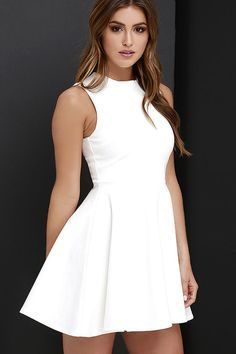 Simply chic and cute as a button, the Fun-Loving Ivory Skater Dress will take your dress game to a whole new level! Medium-weight stretch knit starts at a funnel neckline atop a sleeveless bodice with darting. Exposed gold back zipper. Club Party Dresses, Grad Dresses, Junior Dresses, Homecoming Dresses, Cute Dresses, Casual Dresses, Short Dresses, Women's Dresses, White Skater Dresses