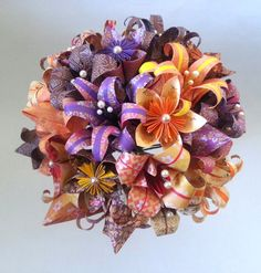 Paper Flower Origami Wedding Bouquet by LilyBelleKeepsakes on Etsy, £70.00