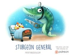 Daily Paint 1529. Sturgeon General by Cryptid-Creations.deviantart.com on @DeviantArt