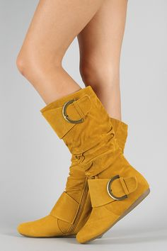 Bank-80 Buckle Slouchy Knee High Boot