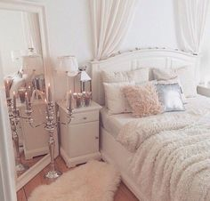 Girly bedroom ideas for small rooms small room design ideas for Glam Bedroom, Home Bedroom, Girls Bedroom, Master Bedroom, Feminine Bedroom, Bedroom Vintage, Mirror Bedroom, Stylish Bedroom, Classy Bedroom Ideas