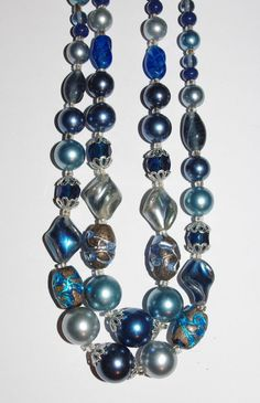 Vintage Beaded Necklace Double Strand Blue by EASTandWESTJewelry