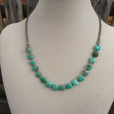 Green Moss Opal and Sterling Silver Necklace, 17 1/2 inch by EastVillageJewelry on Etsy