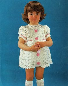 Items similar to PDF Vintage Baby Girl Dress Crochet Pattern Toddler Frilly Pretty EMU 8430 Lacy Party Princess White Pink Flowers Retro Baby Doll on Etsy Pretty Little Dress, Little Dresses, Cute Dresses, Girls Dresses, Baby Dresses, Baby Knitting, Crochet Baby, Vintage Knitting, Crochet Doll Clothes