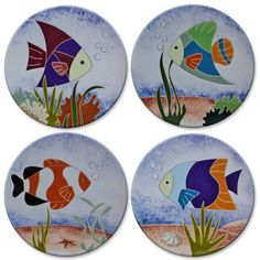 Decorative plate with fish - My CMS Ceramic Fish, Ceramic Plates, Ceramic Art, Decorative Plates, Pottery Painting, Ceramic Painting, Fabric Painting, Painted Rocks, Hand Painted
