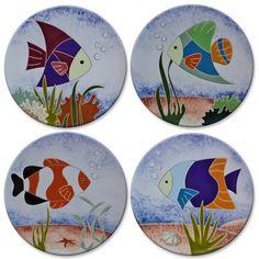 Prato decorativo com peixe