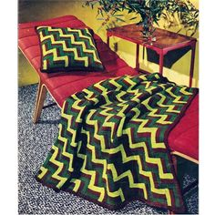 Jacobs Ladder Crochet Afghan Pillow Pattern, Vintage 1950s  A brightly colored crocheted piece, in three colors, has the zig zag Jacobs Ladder type effect. Almost a ripple, but not really. Although it looks like strips, the set is actually made up of 3 inch square blocks.