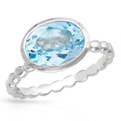 #CHEEAAP ! Silver Ring With Topaz- Size 8   Ring beautifully crafted with topaz in 925 sterling silver. Total item weight 3.0g. Size 8. Gemstone info: 1 topaz, 3.55ctw., with oval shape and light blue color.