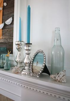 Even though I'm a thousand miles from the ocean, I still like the idea of a beach themed mantle.