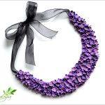 Colier cu flori de liliac- Lilac collar <3 polymer clay lilac by Zubiju