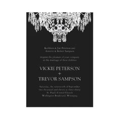 Black and White Chandelier Wedding Invitations from http://www.zazzle.com/chandelier+wedding+invitations
