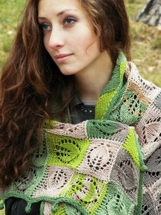 """September"" (knitted shawl, wrap, knitting lace, entrelac)"
