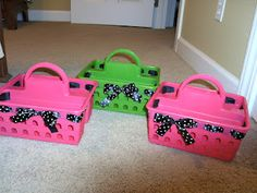 school polka dot baskets- and I'm not into the polka dots, but I hadn't thought of this when it comes to any ribbon. You could really be able to tie any room decor together if you found ribbon that matched your theme. I shall be hunting for moose and cupcakes...