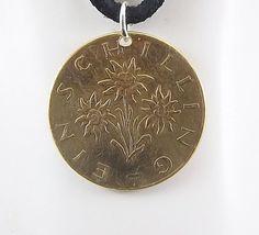 Flower Coin Necklace Edelweiss Austria 1 by AutumnWindsJewelry
